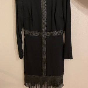 Bebe black fringe dress size 10.